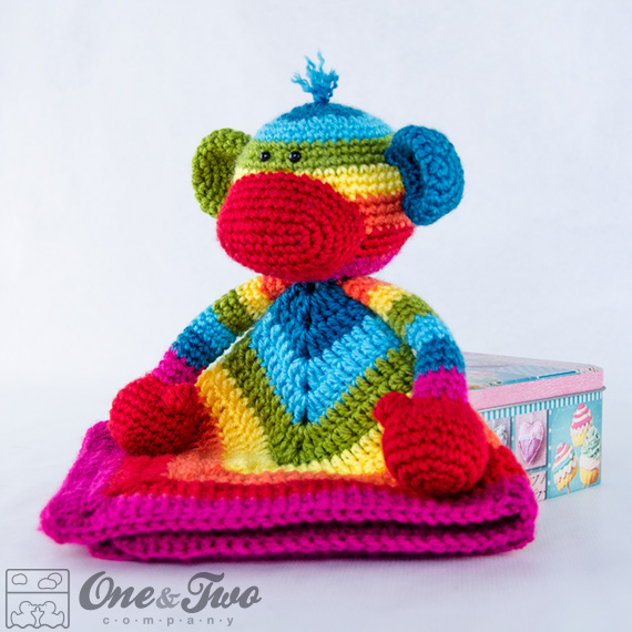 2092ff37c42 Rainbow Sock Monkey Lovey   Security Blanket - PDF Crochet Pattern ...